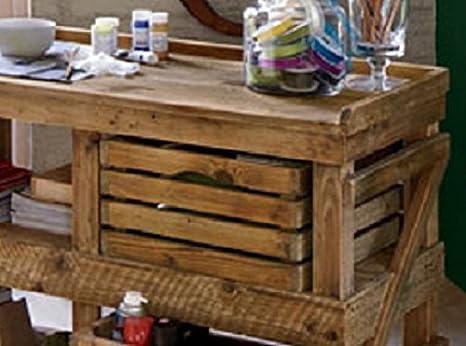 Mesa escritorio de madera, fabricada con palets (cajas de fruta de ...