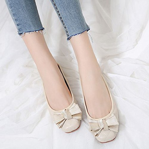 Womens Fashion Ballet Loafers Flats Slip On Square Toe Bow Classic Dress Loafer Casual Dance Shoes Beige FbmLc2