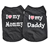 WOWOWMEOW Pet Costume T-Shirts Small Dog Cat Vest Shirt Clothes Pack of 2 (S, Black) For Sale
