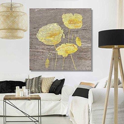 Square Yellow Poppy Wood Effect