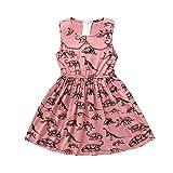Girls Dresses, SHOBDW Toddler Infant Baby Sweet Cartoon Dinosaur Print Sleeveless Summer Halloween Party Clothing Outfits Skirt (6-12 Months, Pink)