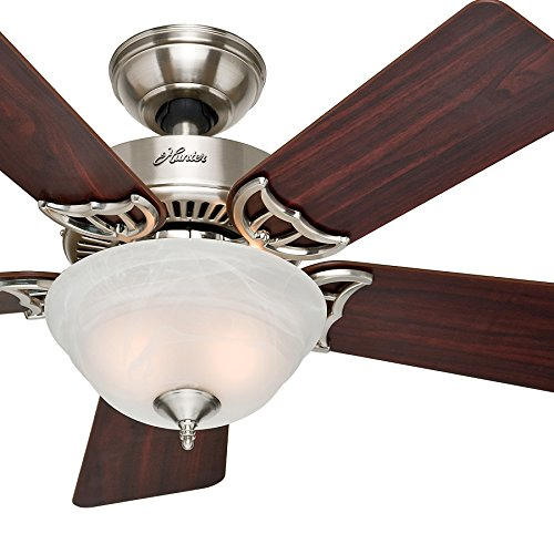 Hunter Fan 42 inch Brushed Nickel Ceiling Fan with a Amber Linen Glass Light Kit, 5 Blade (Renewed) (Brushed Nickel)