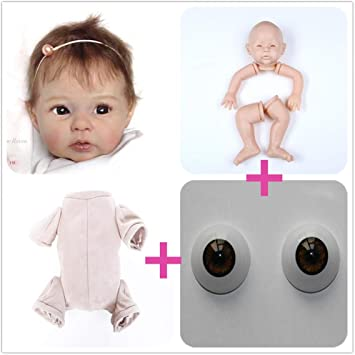 Zero Pam Reborn Baby Doll Kits DIY Doll Making Supplies 20 inch Unpainted Doll Kit Include Head Cloth Body and Eyes Limbs DK1707