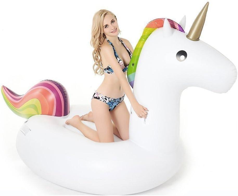 Flotador de Unicornio Gigante Inflable, Unicornio hinchable colchonetas piscina flotador Juguete para fiesta de piscina con válvula rápida para Adultos y Niños, para Piscina al Aire Libre o Lounge