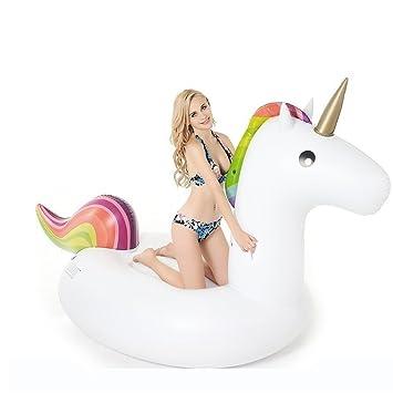 Flotador de Unicornio Gigante Inflable, Unicornio hinchable colchonetas piscina flotador Juguete para fiesta de piscina con válvula rápida para ...
