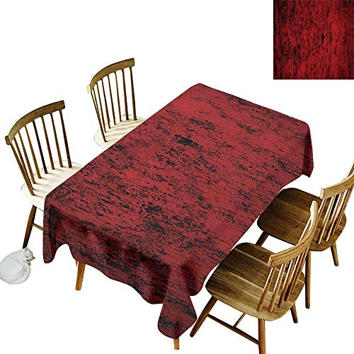 """Family rectangular tablecloth W60"""" x L84"""" Red and Black Pillow Sham Artistic Abstract Pattern with Grungy Distressed Look and in Vintage Style Decorative Standard Printed Pillowcase 36 X 20 Inches Red"""