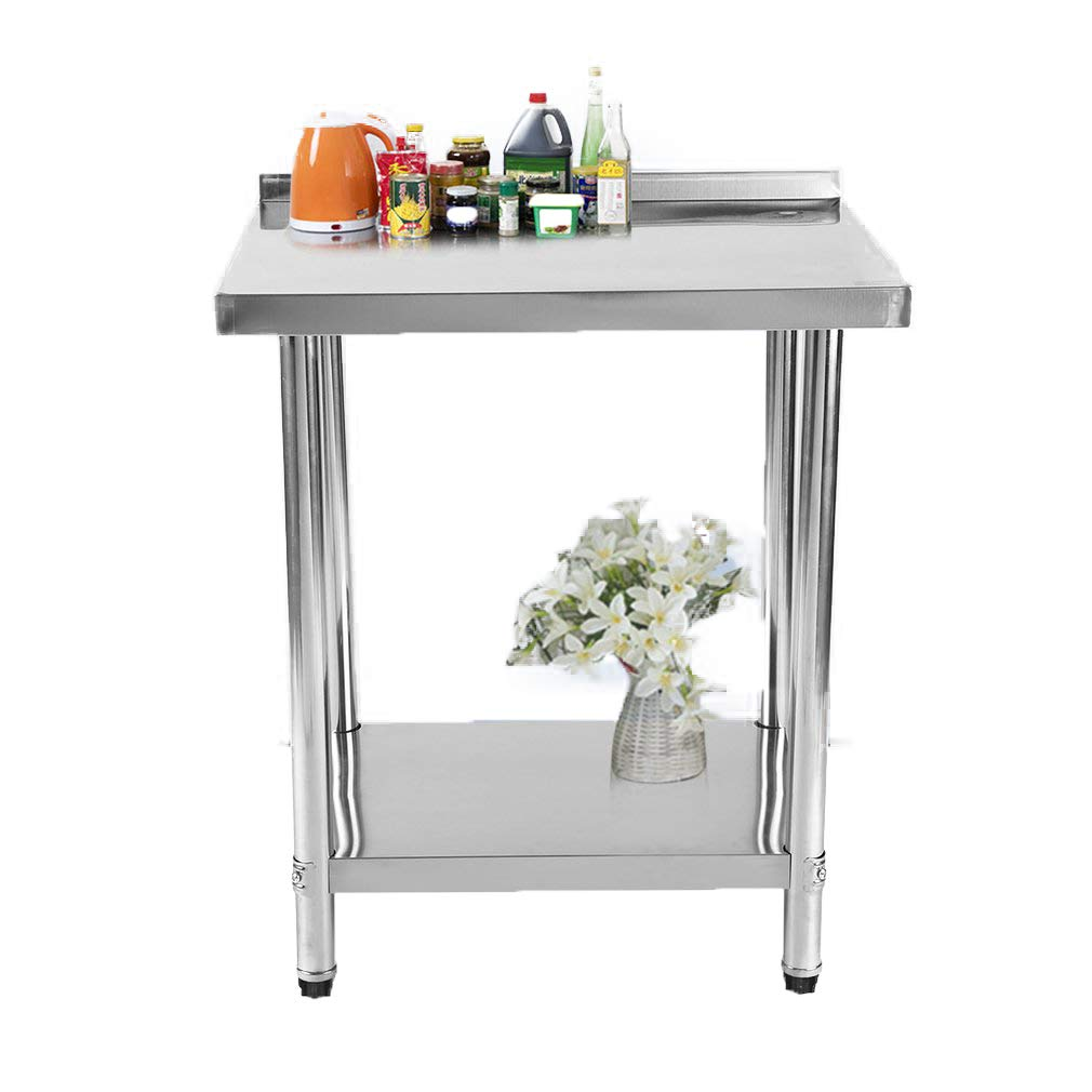 Holarose Restaurant Stainless Steel Work Table, Commercial Kitchen Work Bench w/Backsplash, 30 Inch x 24 Inch by Holarose