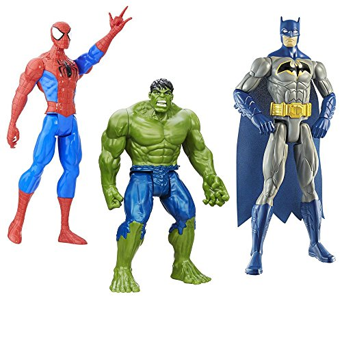 Space Related Halloween Costumes (3 LOT Bundle Marvel Hulk, Spider-Man Titan Hero Series Spider-Man and Mattel Batman Figure, 12-Inch)