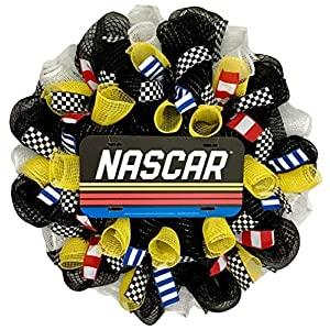 NASCAR Racing Sports Wreath Handmade Deco Mesh 50