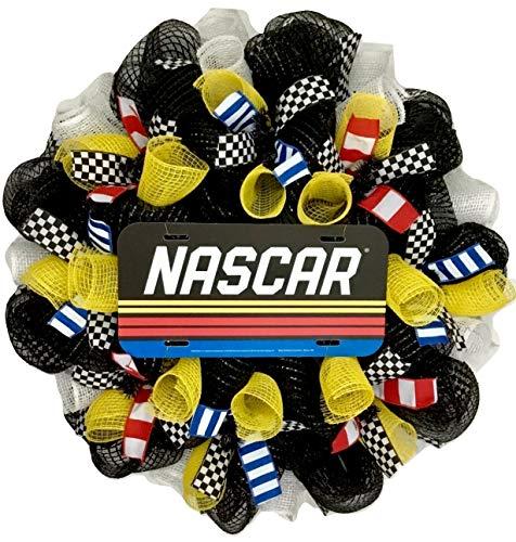 NASCAR Racing Sports Wreath Handmade Deco Mesh