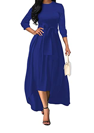 23ed1b8b0c Women Asymmetrical Maxi Dress with Belt Plus Size High Low Homecoming  Evening Party Dresses Blue L at Amazon Women s Clothing store