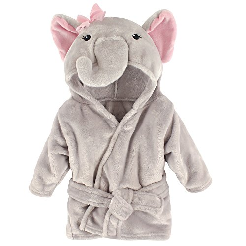 Hudson Baby Unisex Baby Plush Animal Face Robe, Pretty Elephant, One Size