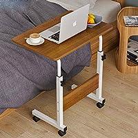 Side Table Movable Side Desk with Bookshelf Casters Student Desk Height Adjustable Computer Stand Portable Workstation…