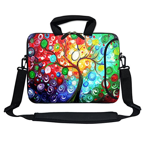 Meffort Inc 13 Inch Neoprene Laptop Bag with Extra Side Pocket, Soft Carrying Handle & Removable Shoulder Strap for 12.5 to 13.3 Inch Size Chromebook Ultrabook (Colorful Tree)
