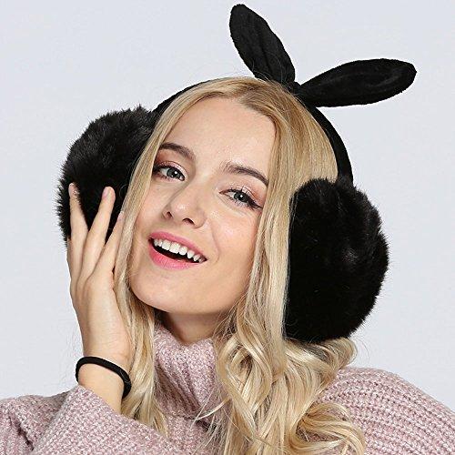 hiver chaud douce fourrure de lapin cache-oreilles joli noeud papillon noir
