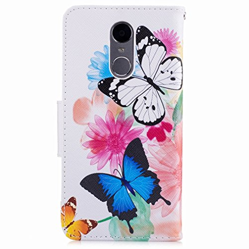 Yiizy Huawei Enjoy 6 Funda, Flower Butterfly Diseño Solapa Flip Billetera Carcasa Tapa Estuches Premium PU Cuero Cover Cáscara Bumper Protector Slim Piel Shell Case Stand Ranura para Tarjetas Estilo