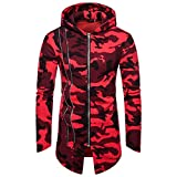 PASATO Fashion Mens Hooded Solid Trench Coat Jacket Cardigan Long Sleeve Outwear Blouse New Clothes Featured(Red, L)