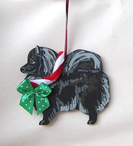 Hand-Painted POMERANIAN BLACK w//Bow Wood Christmas Ornament Artist Original