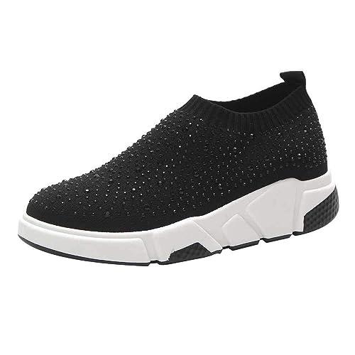 ALIKEEY Calcetines De Tela Elástica De Punto De Mujer Zapatos Zapatos Ocasionales Zapatillas De Deporte De Diamantes De Imitación: Amazon.es: Zapatos y ...