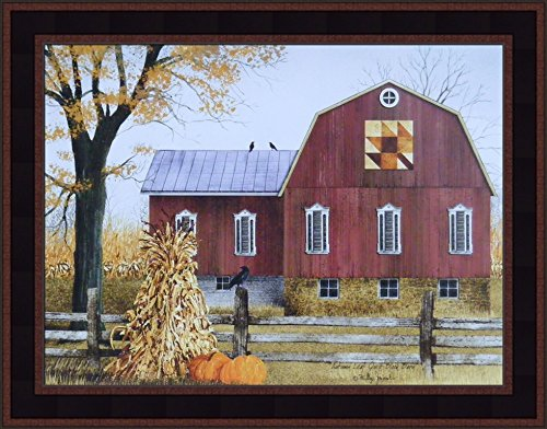 Autumn Leaf Quilt Block Barn by Billy Jacobs 15x19 Barn Pumpkins Corn Stalks Fall Folk Art Country Primitive Print Framed Picture ()