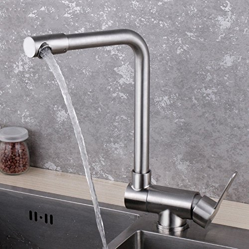 C Hlluya Professional Sink Mixer Tap Kitchen Faucet to redate 304 stainless steel cold water kitchen faucet fold redary single hole faucet open window within the anti-stall sink dish basin mixer the C
