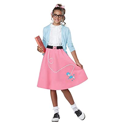 Girls 50's Pink Poodle Skirt Costume: Toys & Games