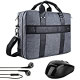 Vangoddy Chrono Grey Rugged Tote Crossbody Shoulder Bag for Lenovo Flex 3 | IdeaPad | ThinkPad E L P Series 15.6'' Laptop + Wireless Mouse + Headphone