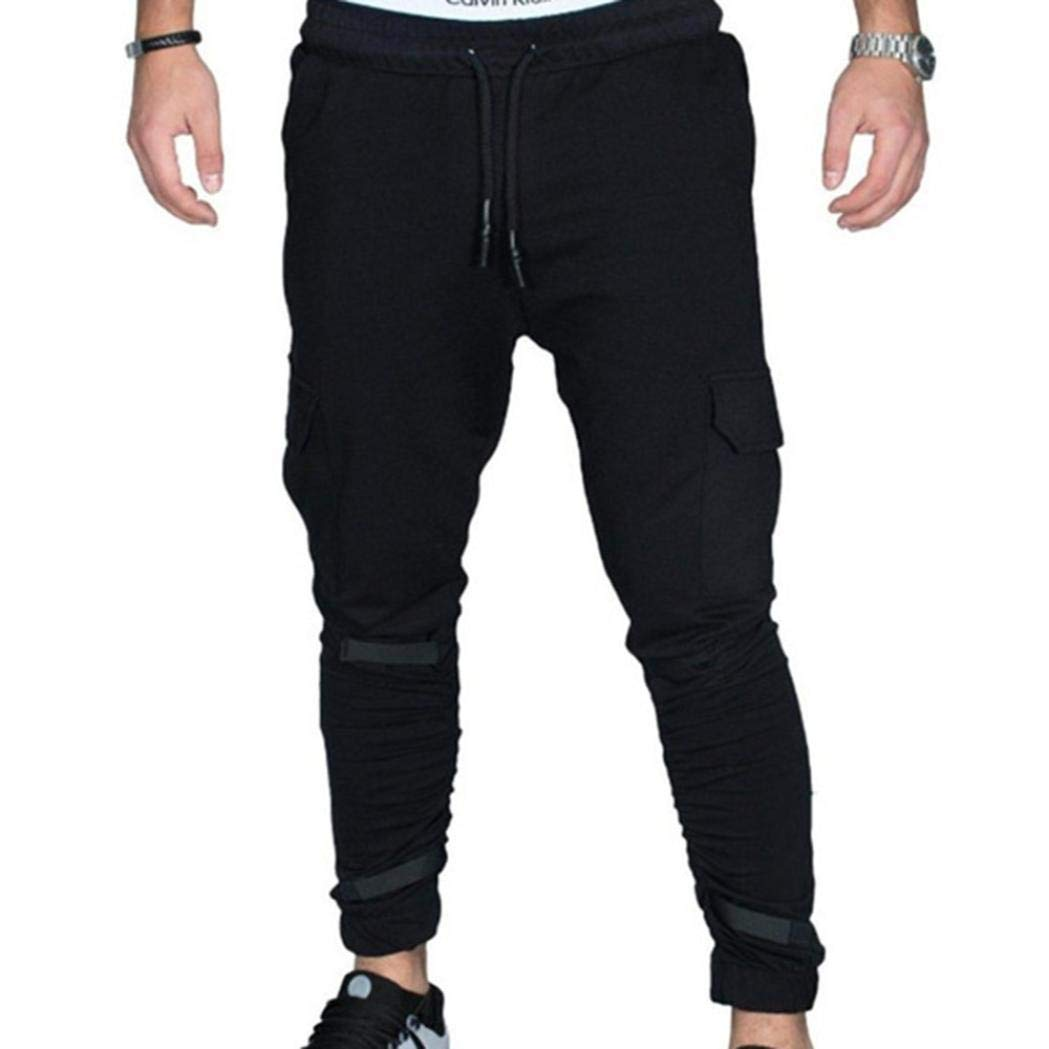 Realdo Hot!Clearance Sale Fashion Men Tight Beam Foot Drawstring Sports Slacks Casual Elastic Pockets Trousers(X-Large,Black)