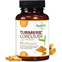 Turmeric Curcumin Max Potency 95% Curcuminoids 1950mg with Bioperine Black Pepper for Best Absorption, Anti-Inflammatory Joint Relief, Turmeric Supplement Pills by PureTea - 60 Capsules