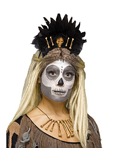 Fun World Women's Voodoo Queen Stone Age Bones Headband Skull Caveman, Black, Standard -