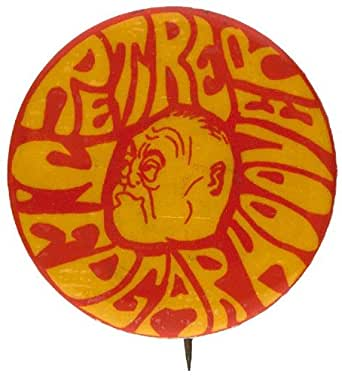 ANTI-FBI RETIRE J. EDGAR HOOVER PSYCHEDELIC DESIGN AND LETTERING BUTTON.
