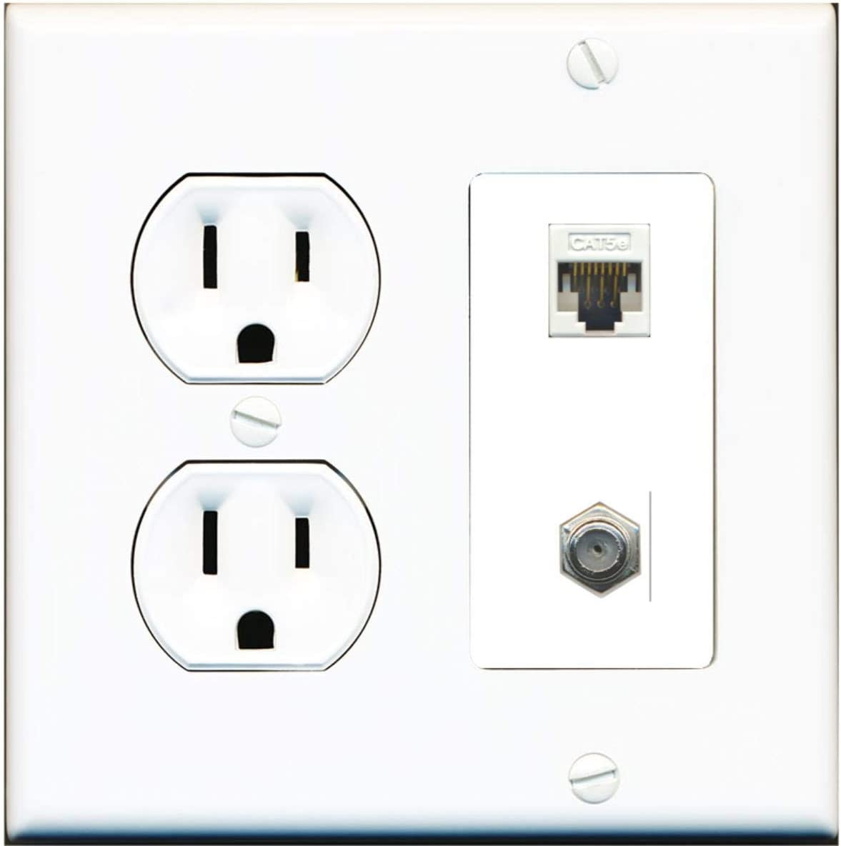 15 Amp Round Power Outlet 1 Port Cat5e Ethernet 1 Coax Cable-TV F-Type Wall Plate White