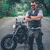 HWK Motorcycle Leather Chaps Pants Biker Cowboy Riding Racing Black Genuine Leather Chap