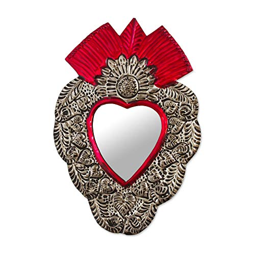 - NOVICA Artisan Crafted Glass and Tin Wall Mounted Mirror, Red and Silver Tone, The Heart of Tradition'