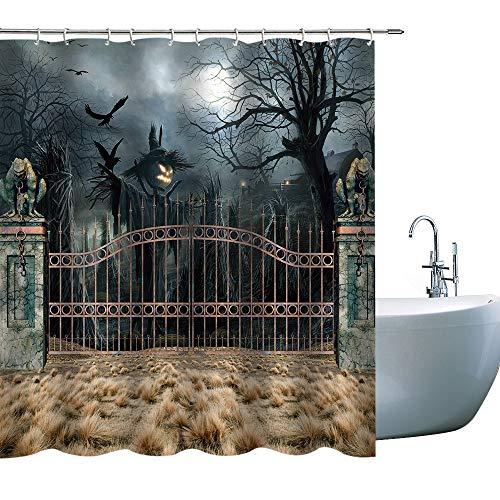 GOODCARE Creative Halloween Pumkin Shower Curtain Bathroom,Moon Night Polyester Fabric Shower Curtains, 3D Printing Shower Curtain Set Including Hooks, 71x71inch (146H) -