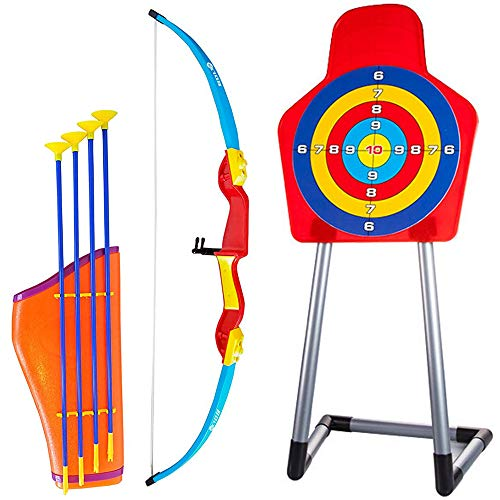 Liberty Imports Deluxe Kids Toy Archery Set with Standing Bullseye Target, Bow and 4 Suction Cup Arrows