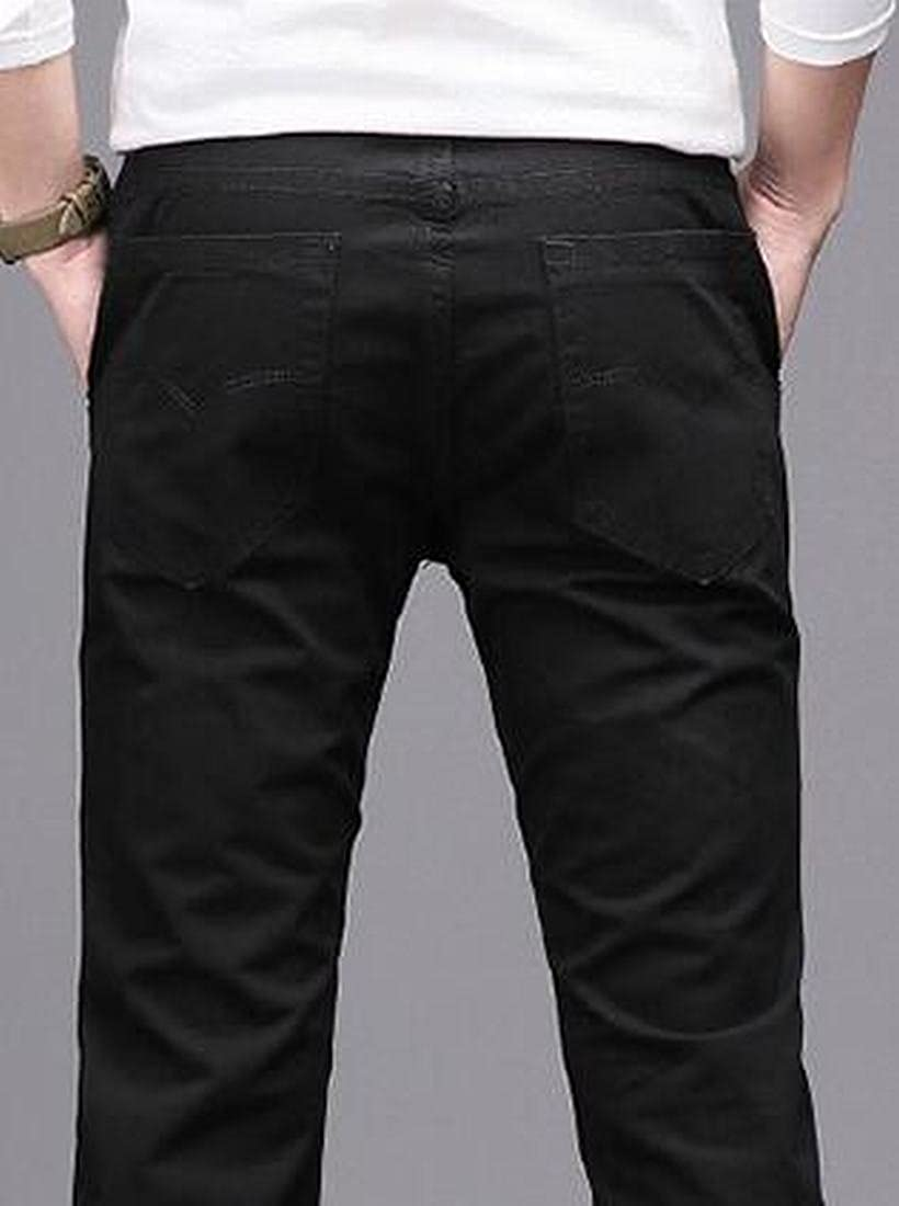 Bravepe Men Solid Straight Leg Mid Rise Cotton Loose Casual Pants Trousers