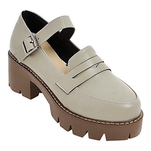 MissSaSa Damen Ankle-strap chunky heel Plateau Pumps Grau