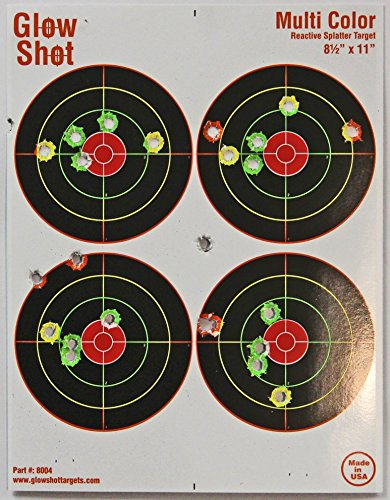 25 and 75 Pack - 4 Bullseye - Reactive Splatter Targets - Tagboard and Adhesive Versions- GlowShot - Multi Color - Gun and Rifle Targets (Tagboard Muti-Color 75 Pack (non-Adhesive))