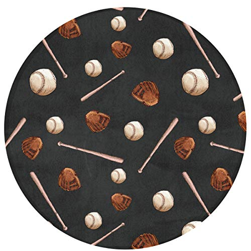 (SuperJK Fashion Baseball Ball Bat Area Blanket, Round/Circle Mat Rugs, Soft Flannel Polyester Carpet, Anti-Slip Playmat for Boys & Girls Kids Room/Bedroom Protection & Decor)