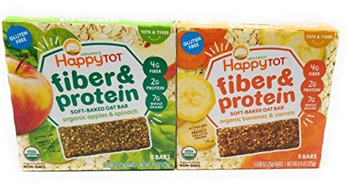 Happy Baby Tot Fiber and Protein Organic Soft-Baked Oat Bar Bundle: 1 Box of Apples & Spinach, 1 Box of Bananas & Carrots(2 boxes total) ()