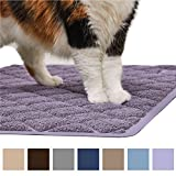 Gorilla Grip Original Premium Durable Multiple Cat Litter Mat (47x35), XL Jumbo, No Phthalate, Water Resistant, Traps Litter from Box and Cats, Scatter Control, Mats Soft on Kitty Paws (Purple)