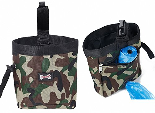 1.2' Drop (DrecratART Dog Treat Pouch with Clip, Nylon Oxford Zipper Drawstring Tote Bag, Poop Bag Dispenser, Carry Snacks and Toys - Camo Green)