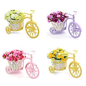 Louis Garden Nostalgic Bicycle Artificial Flower Decor Plant Stand (Orange) 2