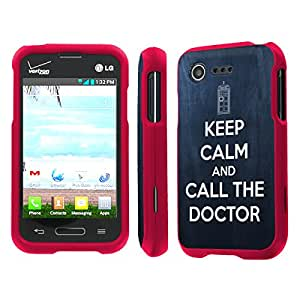 NakedShield LG L34C Optimus Fuel / Zone 2 VS415 (Keep Calm Call The Doctor) Total Hard Armor Rose Pink LifeStyle Phone Case