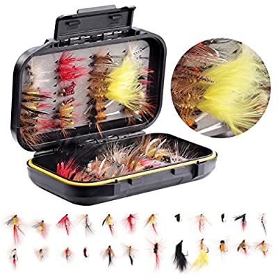 Fly Fishing Flies Assortment Kit- 72 pcs Handmade Fly Fishing Lures-Dry/Wet Flies,Streamer, Nymph, Emerger with Waterproof Fly Box