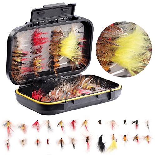 Fly Fishing Flies Assortment Kit- 72 pcs Handmade Fly Fishing Lures-Dry/Wet Flies,Streamer, Nymph, Emerger with Waterproof Fly ()