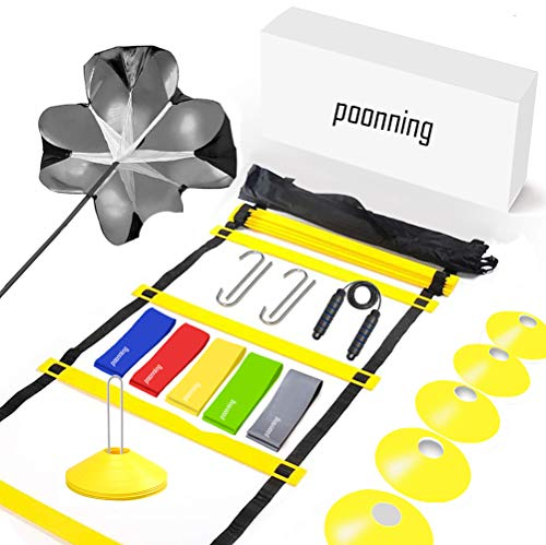 Polynea Speed Agility Training Set (20 ft/12 Rung Agility Ladder, 10 Cones, 5 Resistance Bands, Carry Bag)