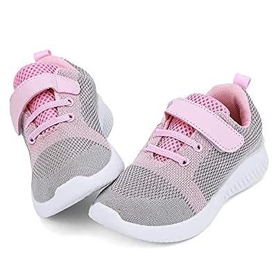 nerteo Toddler/Little Kid Boys Girls Shoes Running/Walking Sports Sneakers Multi Size: 1 Little Kid Light Grey/Pink