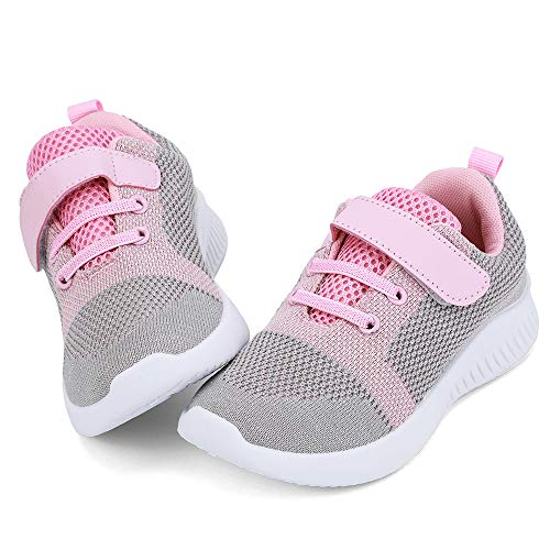 nerteo Toddler Girls Shoes Kids Comfort Walking Shoes Cute Tennis Running Sneakers Light Grey/Pink 6 M US Toddler